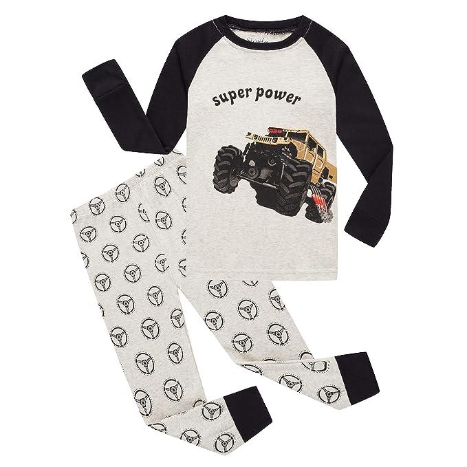 Amazon.com: Little Boys Car Pajamas 100% algodón Navidad ...
