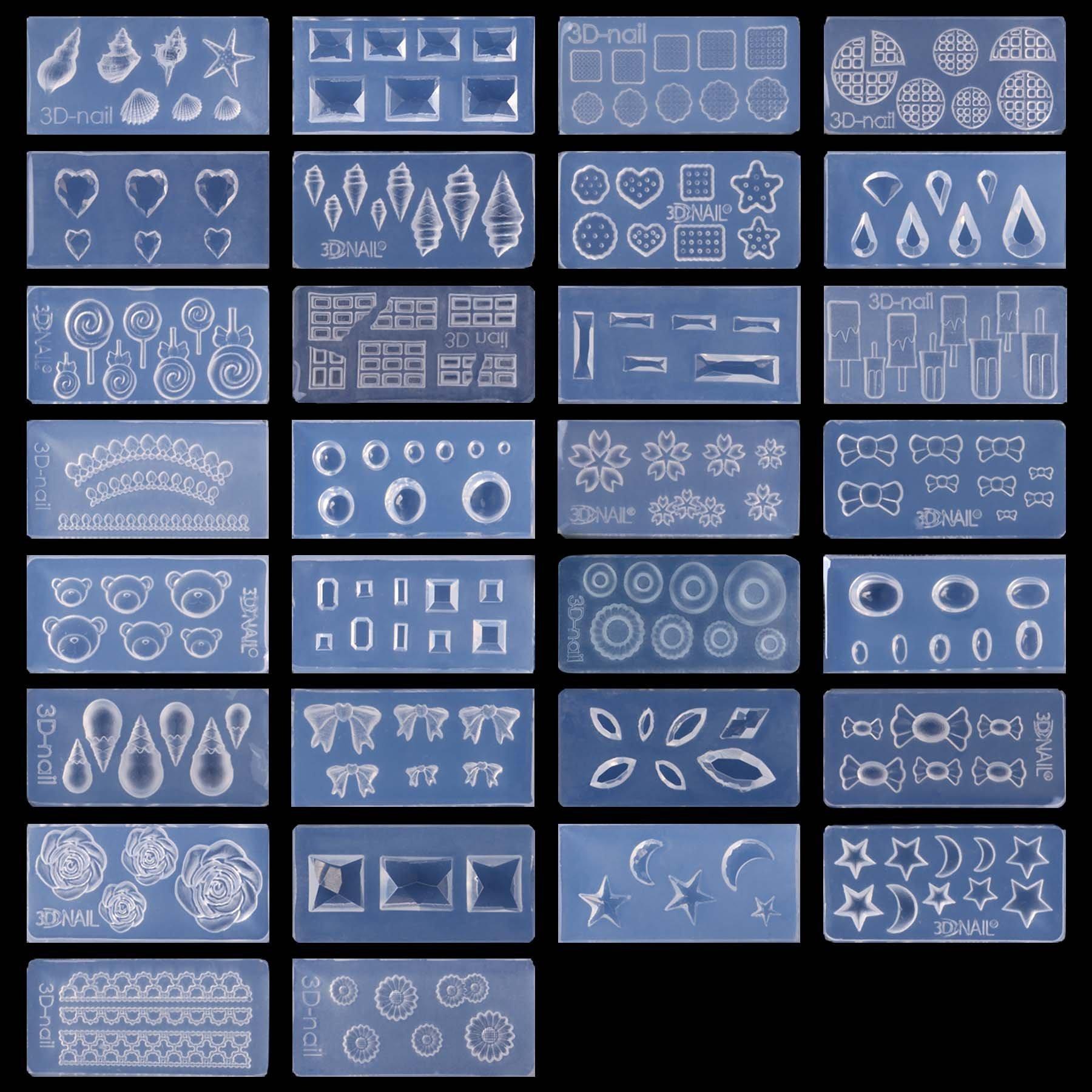 Amazon.com : 30pcs New Cute 3D Acrylic Mold Kit for Nail Art DIY ...