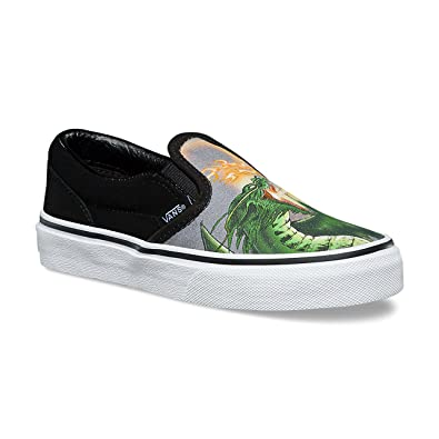 9af06a0d9d29f4 Vans Kids Slip-On (Dragon Flame) Black True White VN0A32QIUDZ Kids Size
