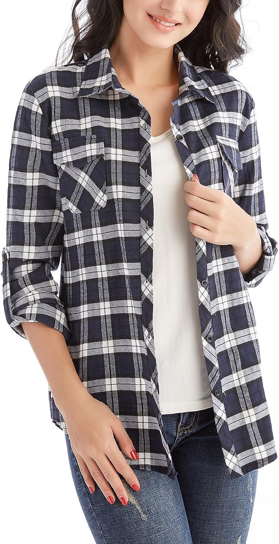Long Sleeve Blouse Preppy Shirt Women/'s Long Sleeve Button-Up Shirt