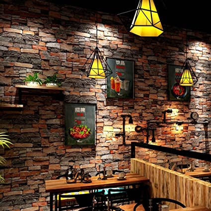 amazon com wallpaper classical restaurant rustic stone wallpaper 3d