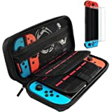 Hestia Goods case Compatible with Nintendo switch Hard Carry case and Tempered screen protector - 20 Game Cartridge Travel ca