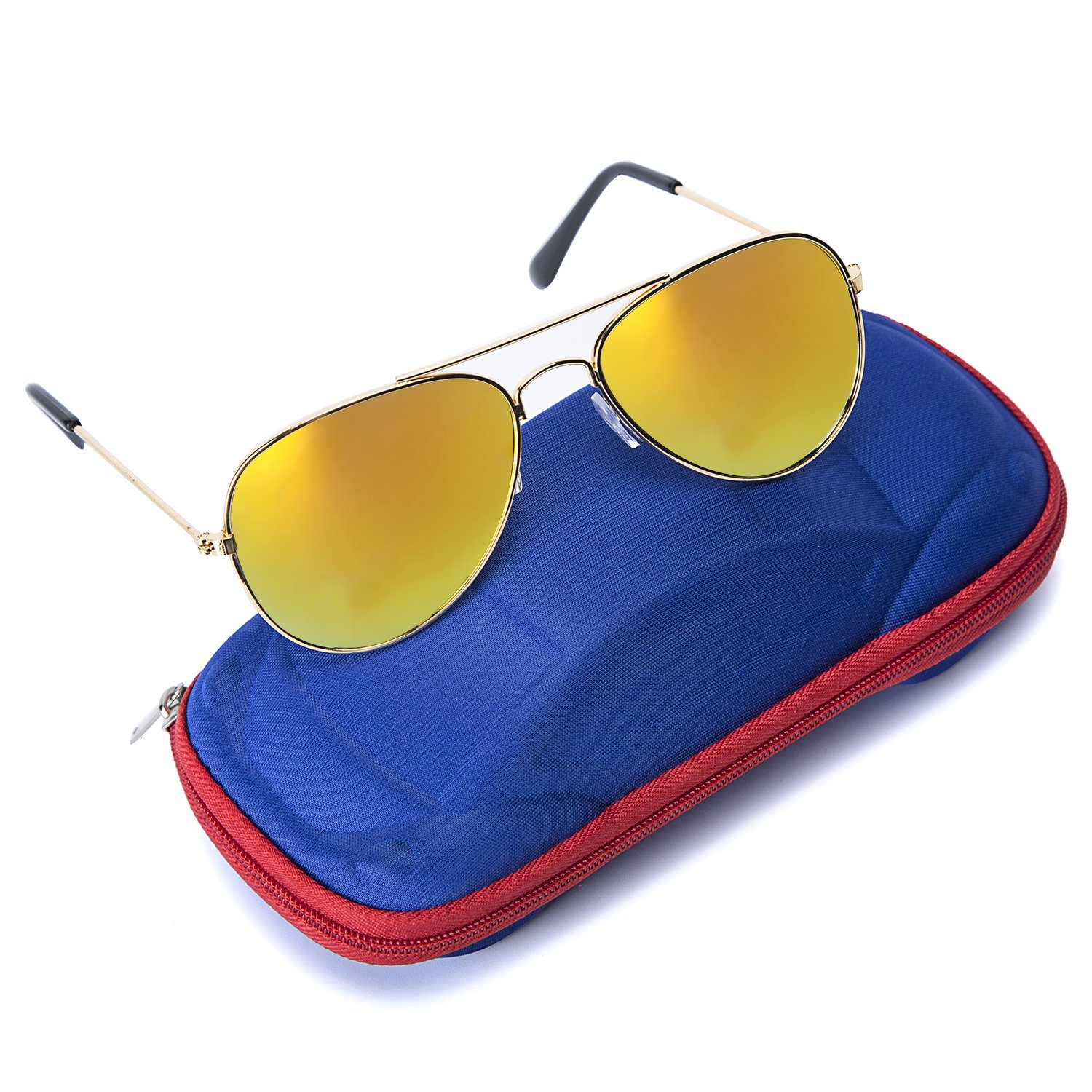 Kids Junior Aviator Classic Sunglasses Metal Frame Reflective Lenses By Comcl 52) Boys Sunglasses-Blue Flash