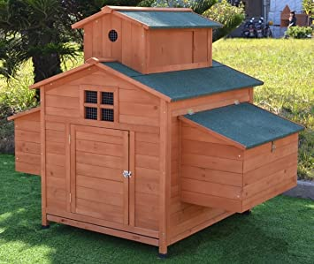 Omitree Deluxe Large Wood Chicken Coop Backyard Hen House 6 10 Chickens  With 6 Nesting