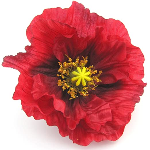 Amazon large 45 red poppy silk flower brooch pin clothing large 45quot red poppy silk flower brooch pin mightylinksfo