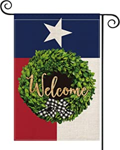 AVOIN Texas State Boxwood Wreath Garden Flag Vertical Double Sided, Welcome Buffalo Check Plaid Bow Flag Yard Outdoor Decoration 12.5 x 18 Inch