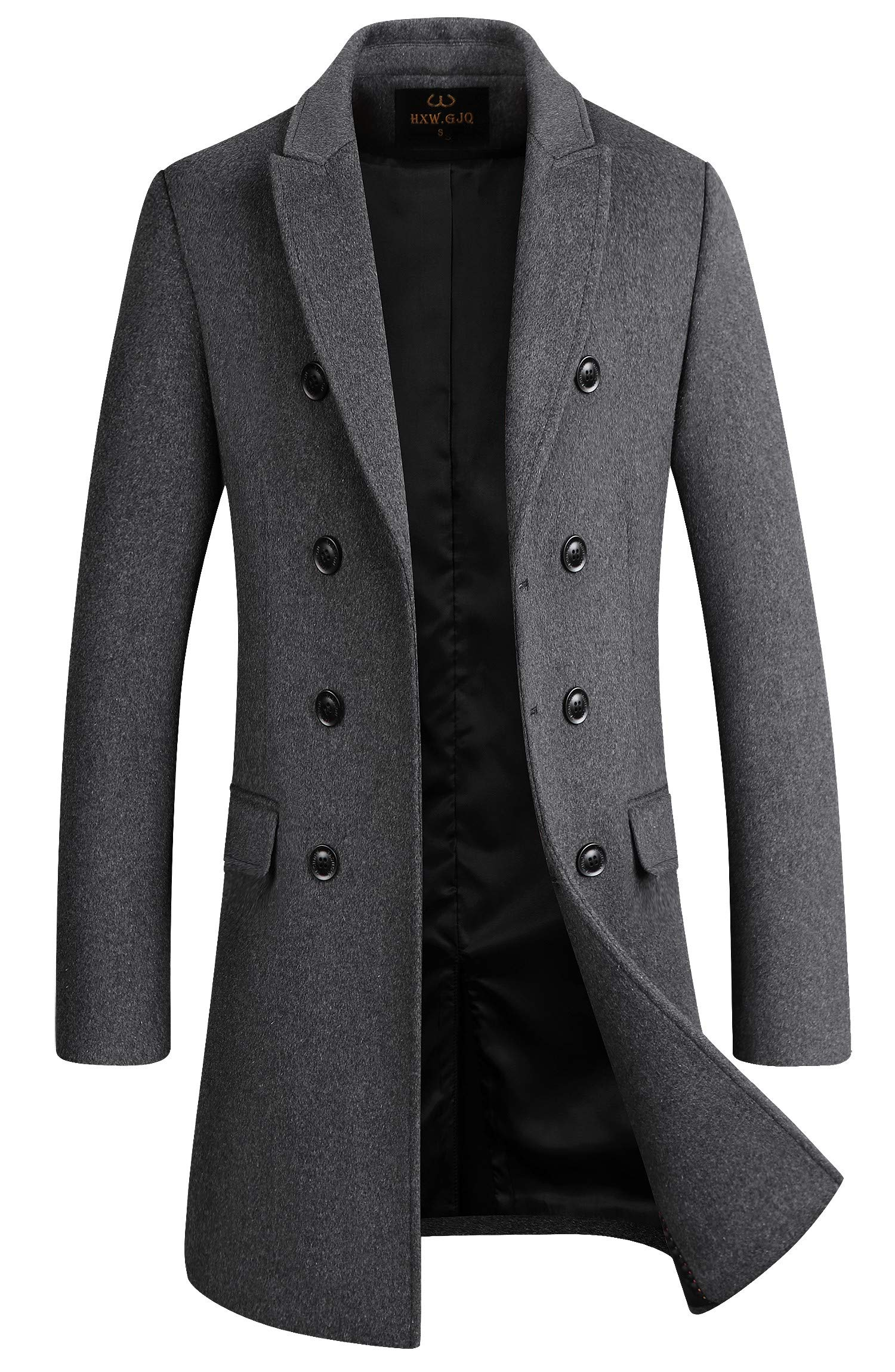 Men's Premium Wool Blend Double Breasted Long Pea Coat (Grey, Large) by HXW.GJQ