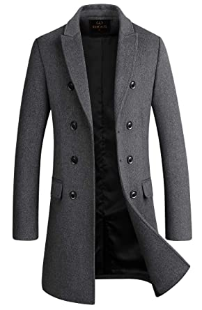 2d029771 Men's Premium Wool Blend Double Breasted Long Pea Coat (Grey, Small)