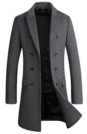 e122423b5f91 Men's Premium Wool Blend Double Breasted Long Pea Coat (Grey, Small)