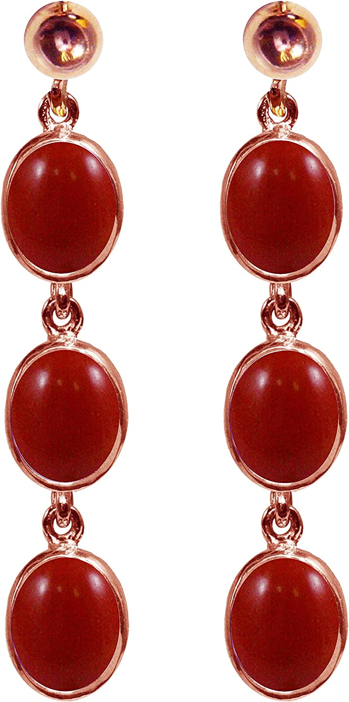 BJC® 9ct oro rosa Natural rojo Coral 9.00ct ovalado Triple Drop pendientes colgantes marca nuevo con caja de regalo