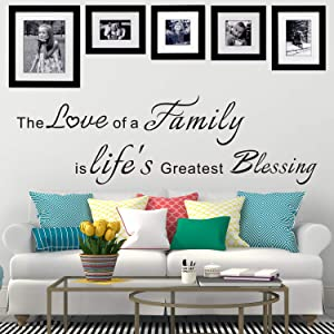 VODOE Quotes Wall Decal, Family Wall Decals, Live Bedroom Couple Romantic Scripture Saying Living Room Home Art Decor Vinyl Word Photo Stickers The Love of a Family is Life's Greatest Blessing 37