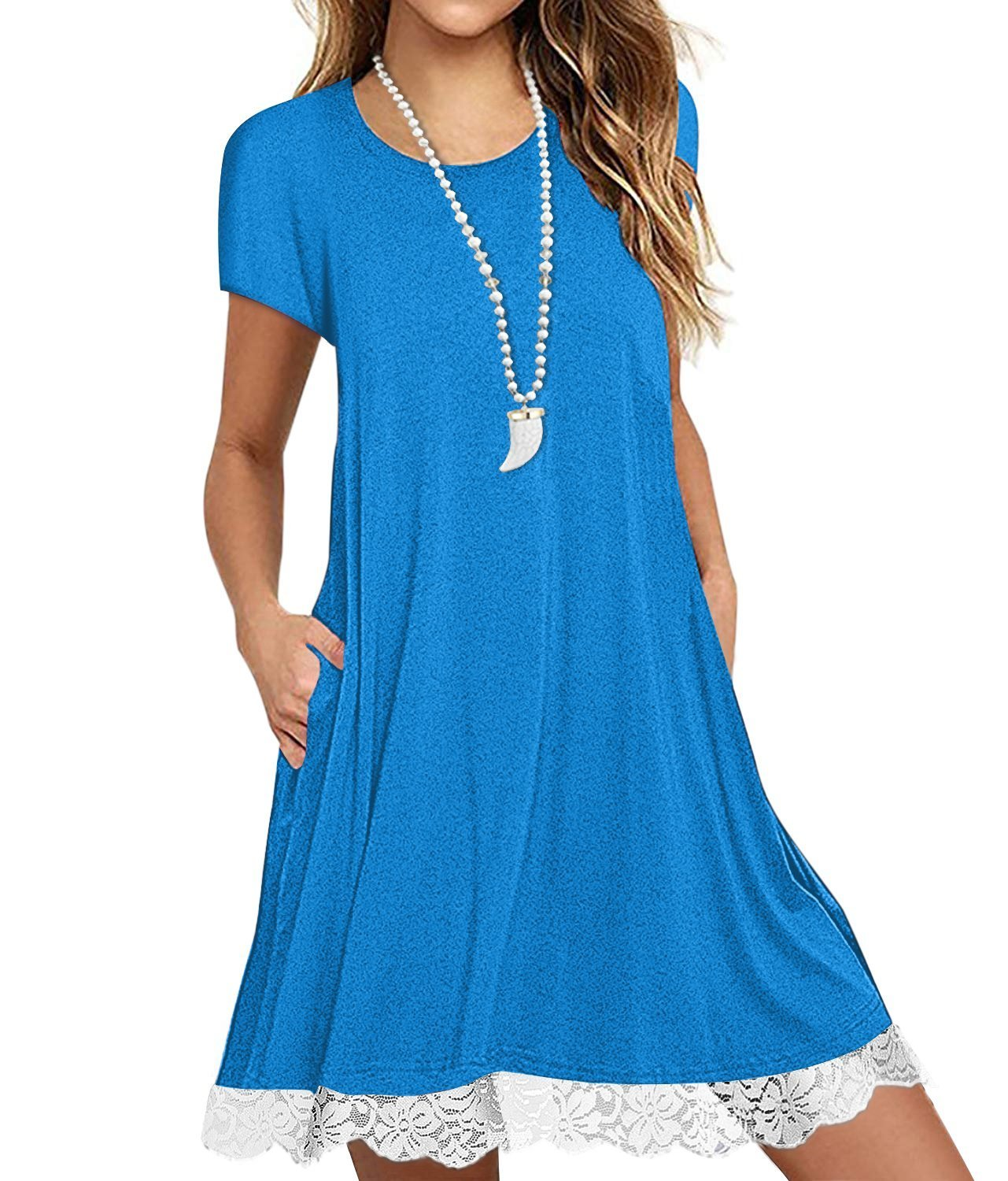 Eanklosco Womens Casual Short Sleeve Plain Pocket V Neck T Shirt Tunic Dress (SkyBlue-2, 2XL)