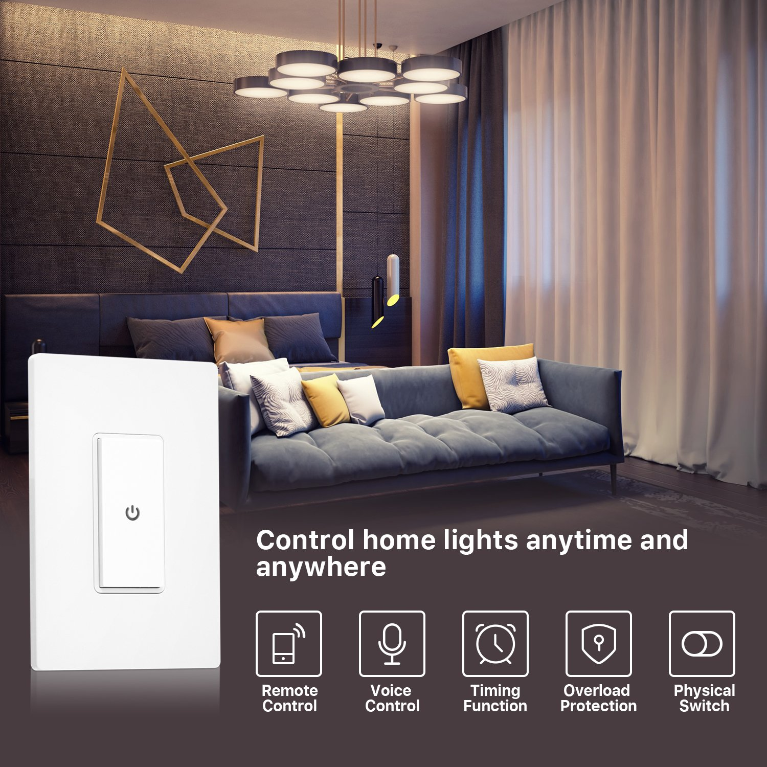 Ankuoo REC Wi-Fi Light Switch with Push Notification, Works with Alexa, New Firmware with AP Mode, NOT Plug & Play, Limited DIY Required, White