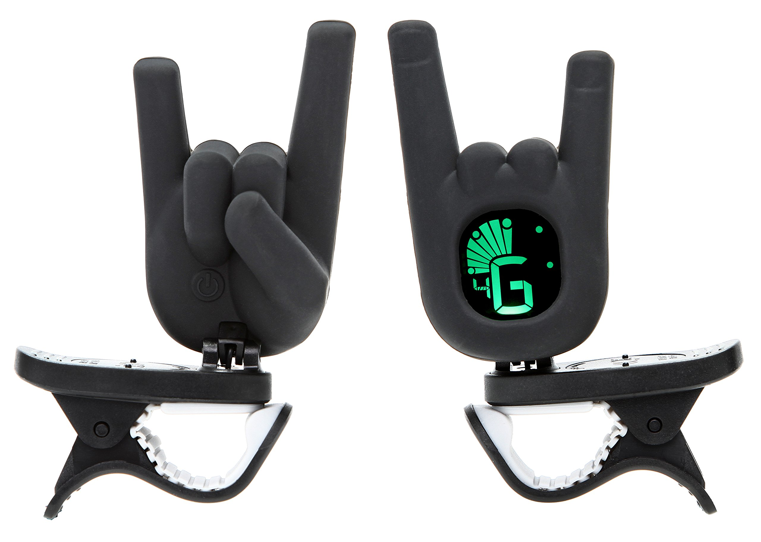Clip-On Tuner Rock On Devil Horn Hand Gesture with Guitar, Bass, Ukulele, Violin, Chromatic Tuning Modes - Black