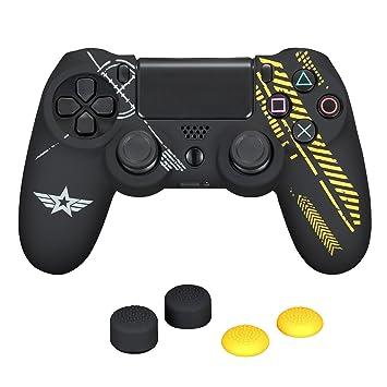 TPFOON PS4 - Carcasa de silicona para Sony PlayStation 4 DualShock 4 PS4 Slim/Pro y 4 protectores de pulgar FPS Pro