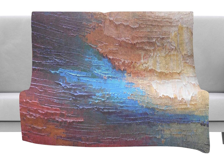 Kess InHouse Carol Schiff Ocean Sunset Blue Coastal Throw 80 x 60 Fleece Blanket