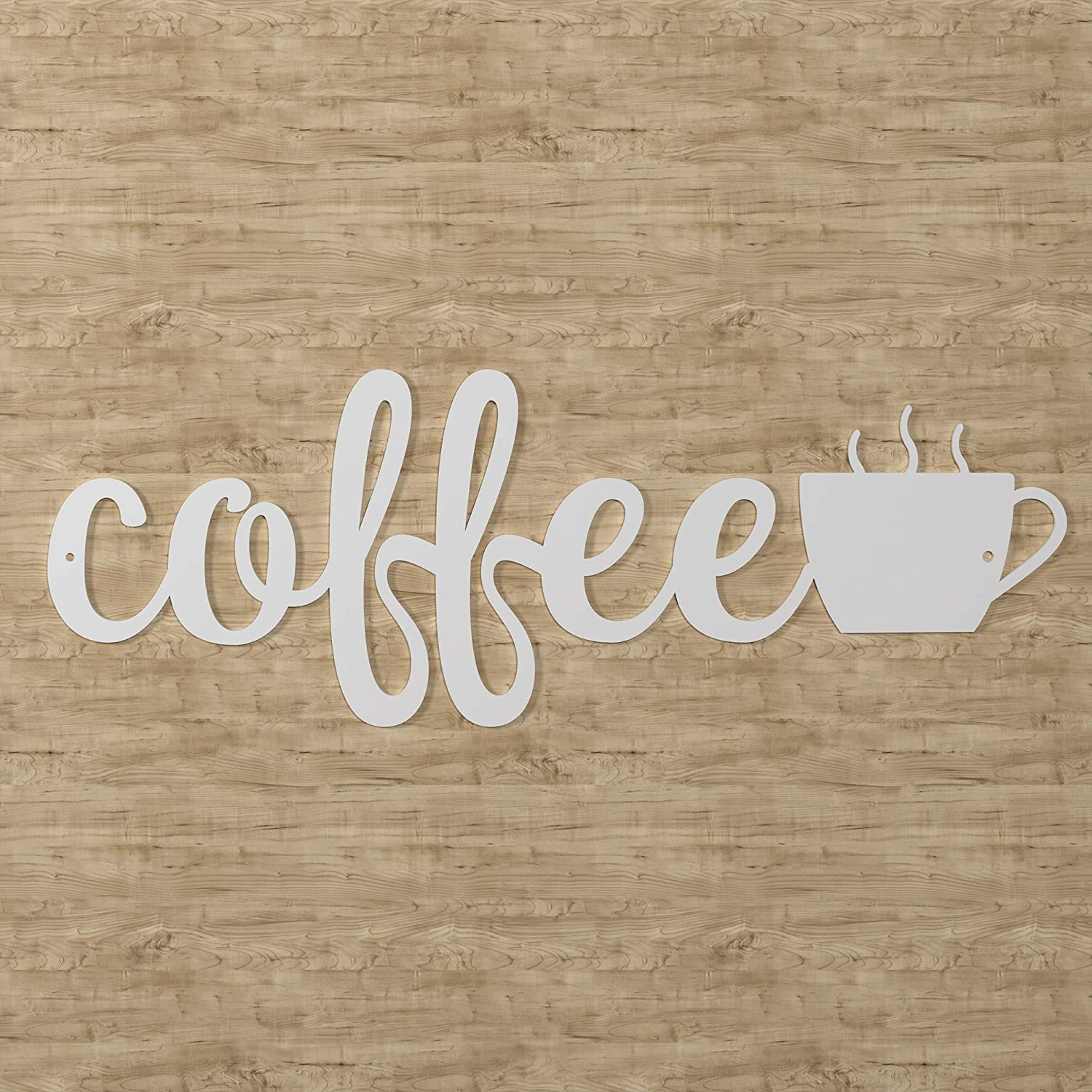 "American Maker 'Coffee' Steel Wall Art Home Decor, Laser Cut Metal Sign Decoration, Hanging Word Plaque for Family Room or Kitchen, Made in the USA, White, 17"" x 6"""