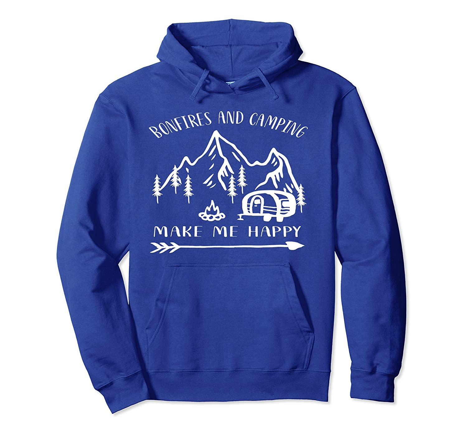 BONFIRES AND CAMPING MAKE ME HAPPY Camping Hoodie-alottee gift