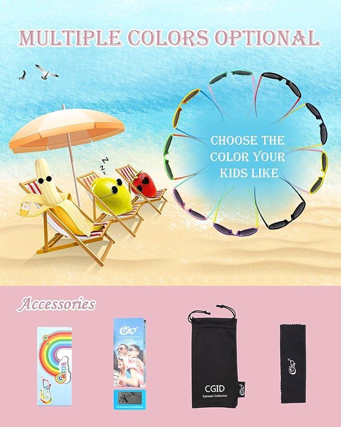 CGID Occhiali Da Sole Polarizzati Gomma Morbida per Bambini Protezione UV400 100/% con Cornice Flessibile per Bambini Ragazzi e Ragazze dai 3 ai 10 anni K89