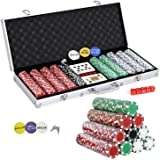 Smartxchoices 500 Poker Chip Set 11.5 Gram Dice Style Clay Casino Poker Chips w/Aluminum Case Cards Dices Blind Button…
