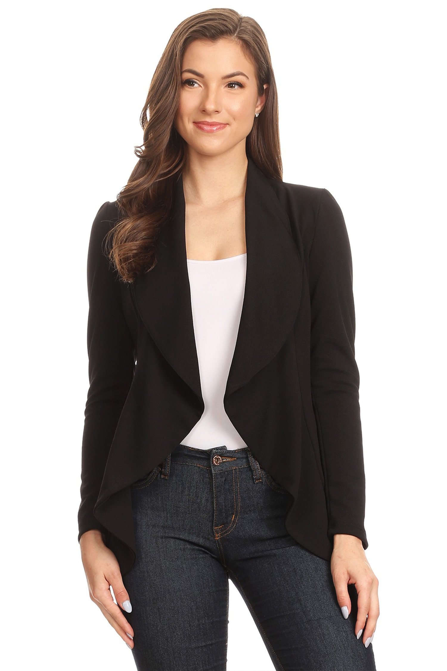 Women's Stretch Long Sleeves Open Front Blazer/Made in USA (S-3XL) Black 3XL