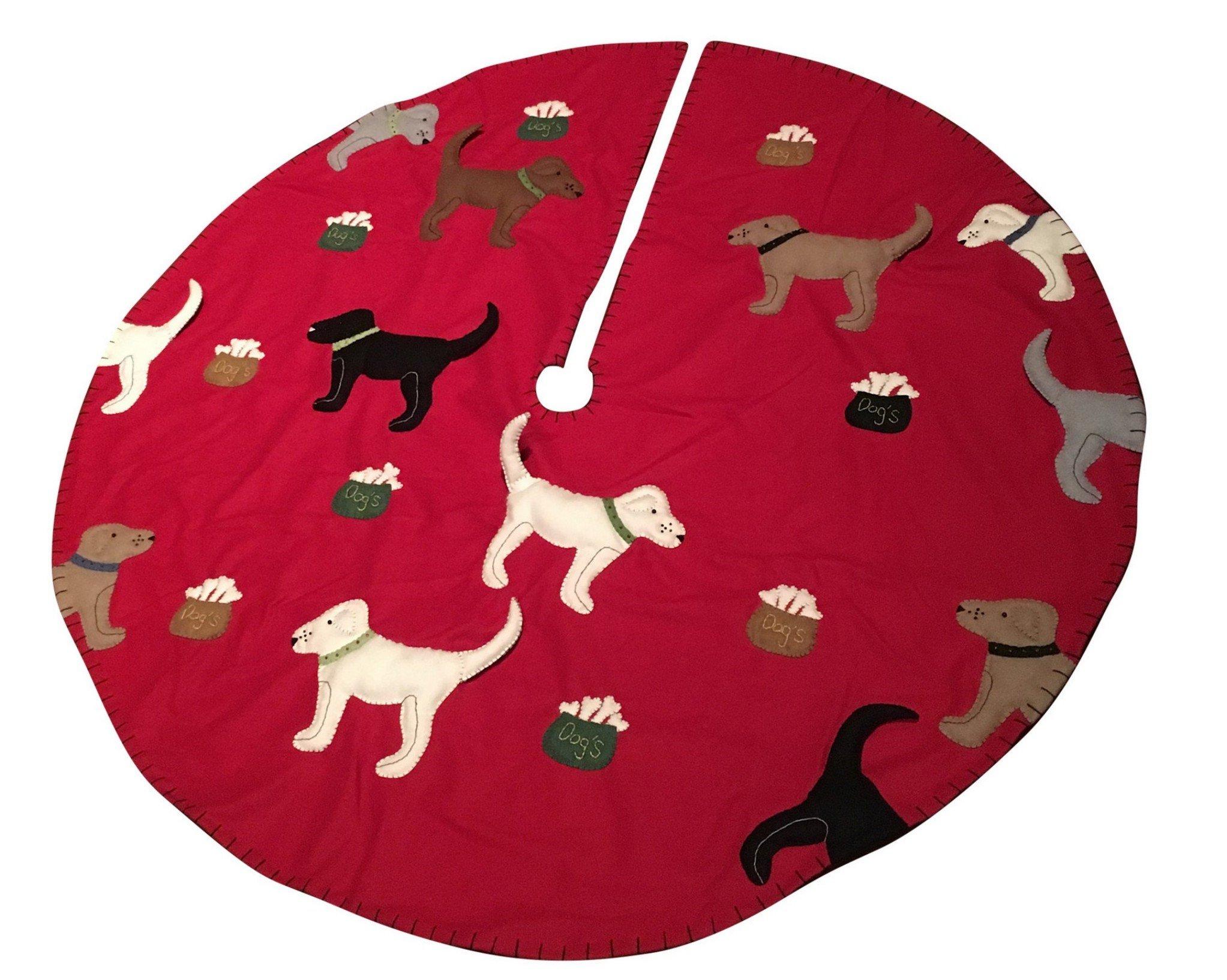 54'' Handmade Felt Applique Dog Pet Christmas Tree Skirt Red Background