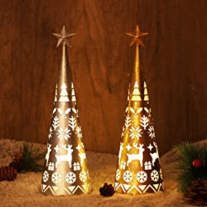 Juegoal 11.6 Inch Lighted Christmas Table Decorations with Star, Cone Shaped 10 LED Lights Battery Operated, Indoor Xmas Holiday Wedding Party Tabletop Desk Ornament, 2 Pack (Gold, Silver)