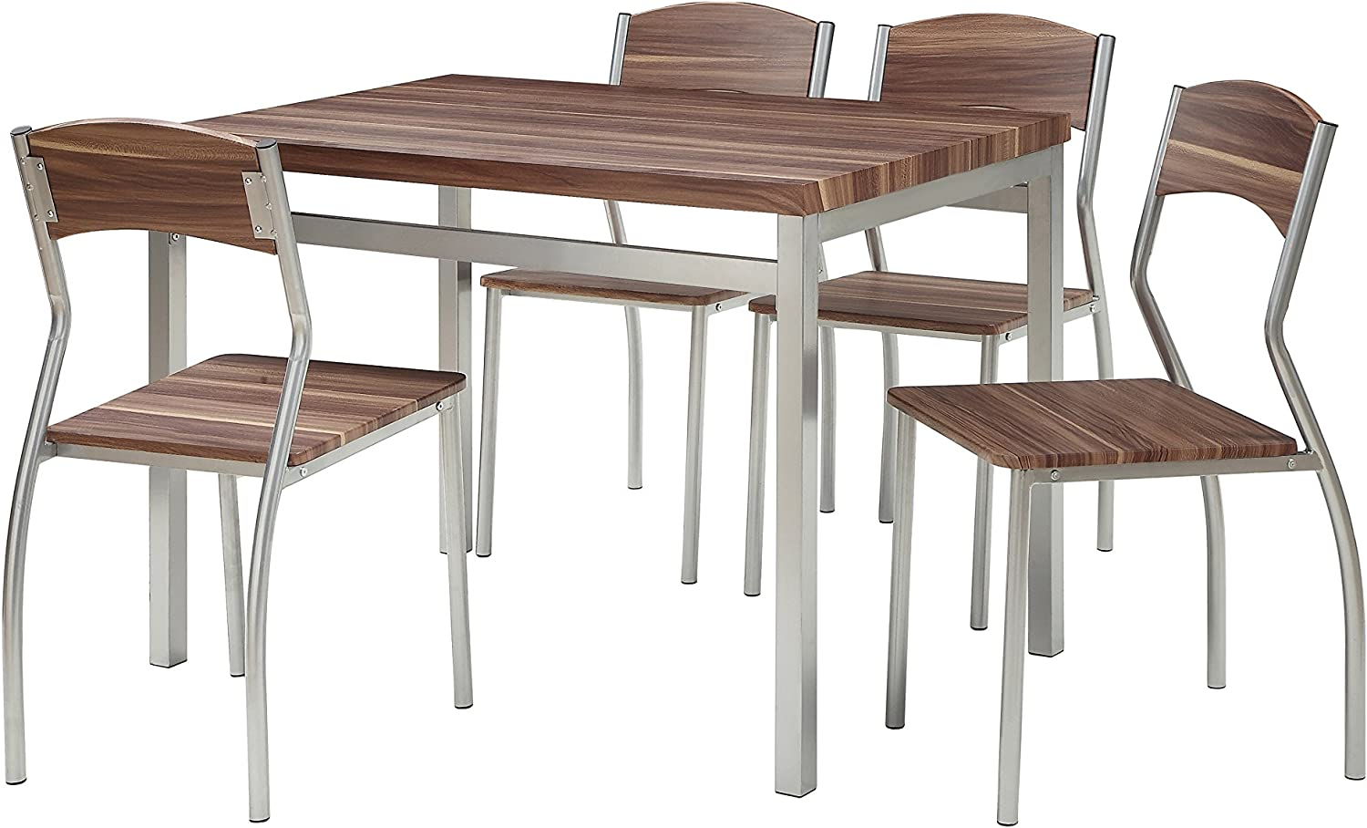 Abington Lane 5-Piece Dining Table Set with 4 Chairs - Modern and Sleek Dinette (Cedarwood Finish)
