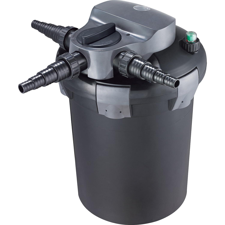 Jecod/Jebao BF-9000E Bio Druckteichfilter 11w UV Pond Filter mit Automatisch Rückspülbar für Teiche bis 9000L