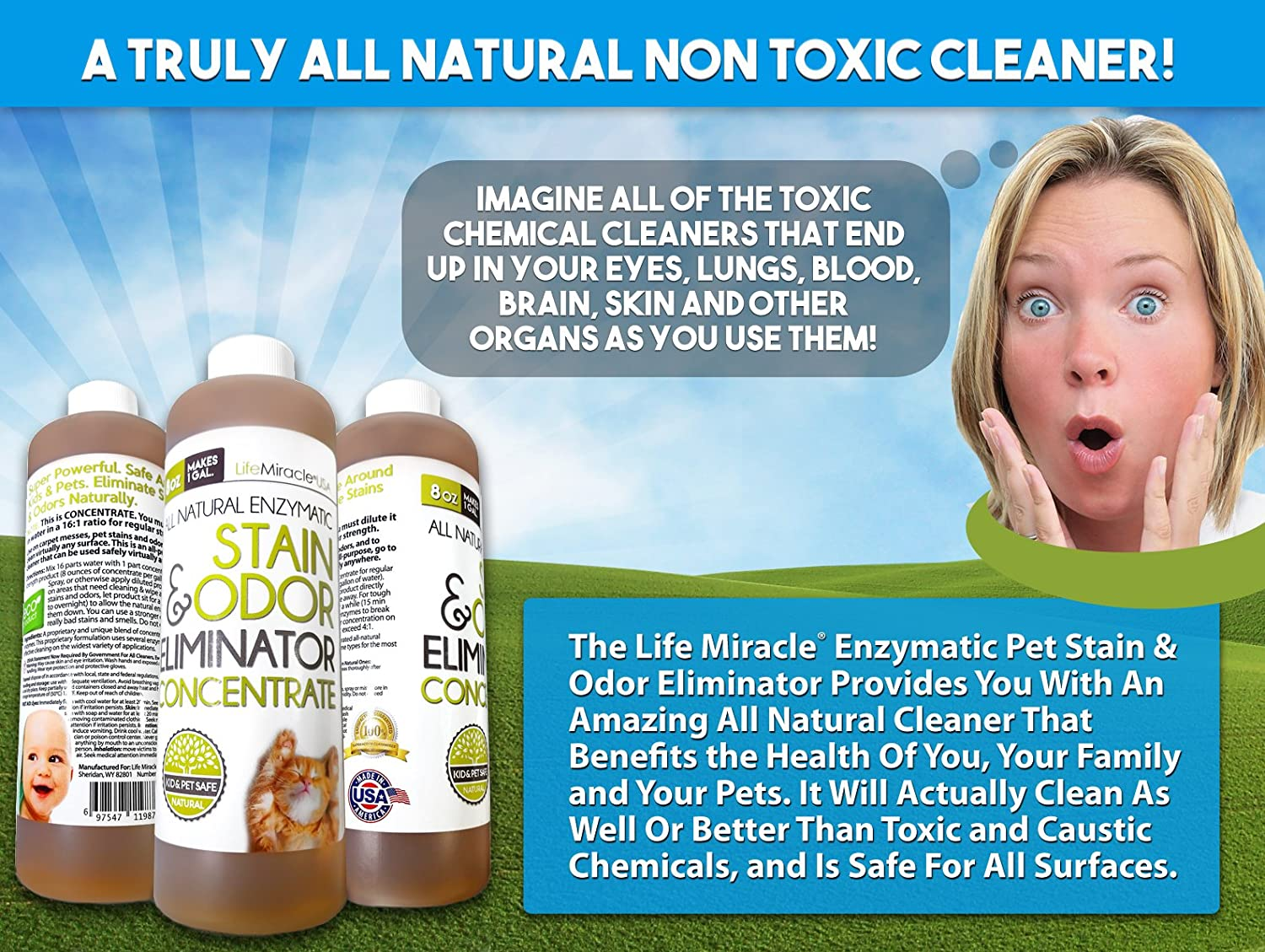 Safe, All Natural Carpet Cleaning And Laundry Stain Remover & Odor  Neutralizer All In One, All Surface Nontoxic Cleaner Concentrate Makes A  Gallon (128