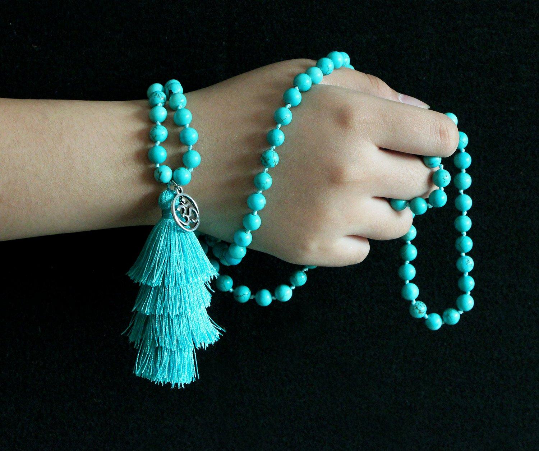 MHZ JEWELS Turquoise Mala Beads Necklace Bracelet Gemstone Prayer Beaded Meditation Yoga Necklace for Women by MHZ JEWELS (Image #4)