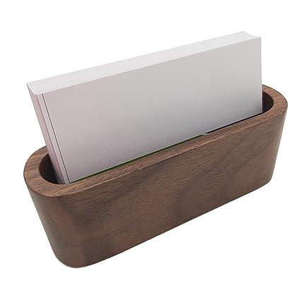 Tarjetero de madera de nogal para tarjetas de visita, soporte para ...