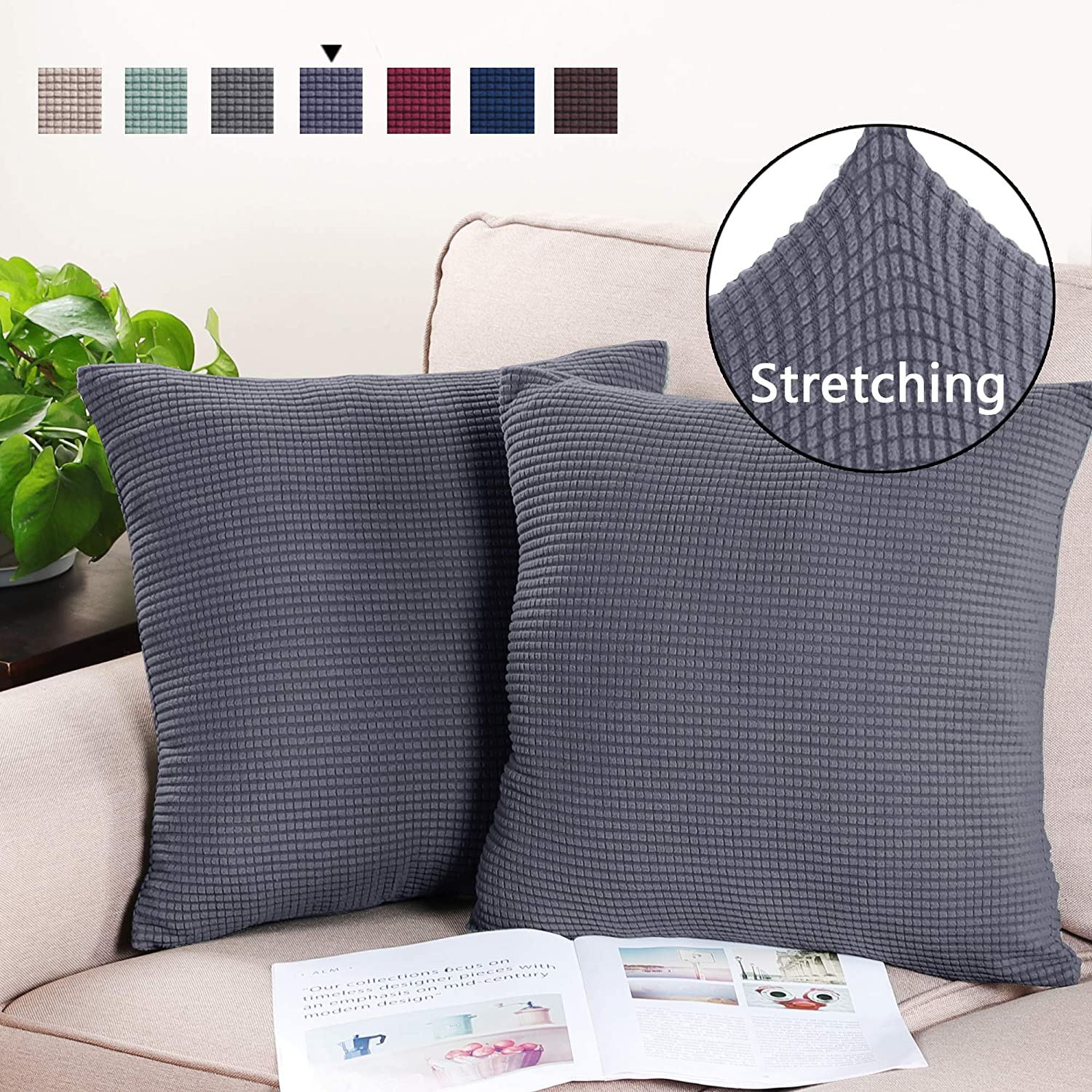 Ivory 18x18 2 Pack Pillow Covers Rich Jacquard Stretch Fabric High Spandex Soft Solid Decorative Square Throw Pillow Covers Set Cushion Cases Pillow Cases for Living Room//Couch