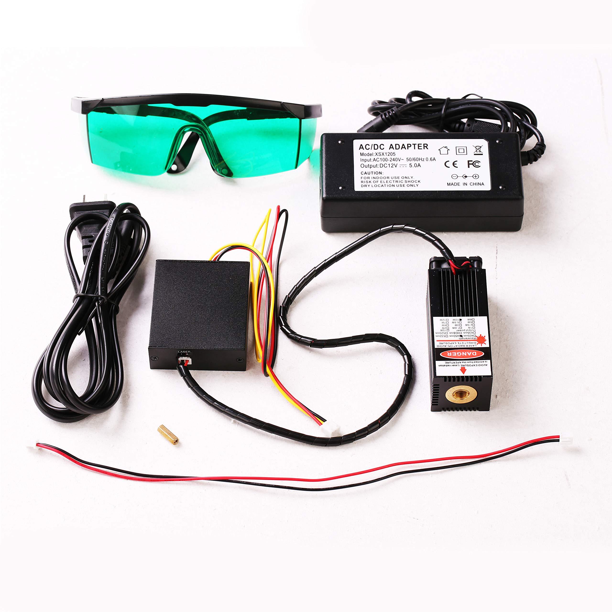 Blue Laser Module 405nm/450nm 500mW/2.5W/5.5W/10W/15W Focusable for 3D Printer/CNC Engraving/Laser Engraving ...(10W-V2)