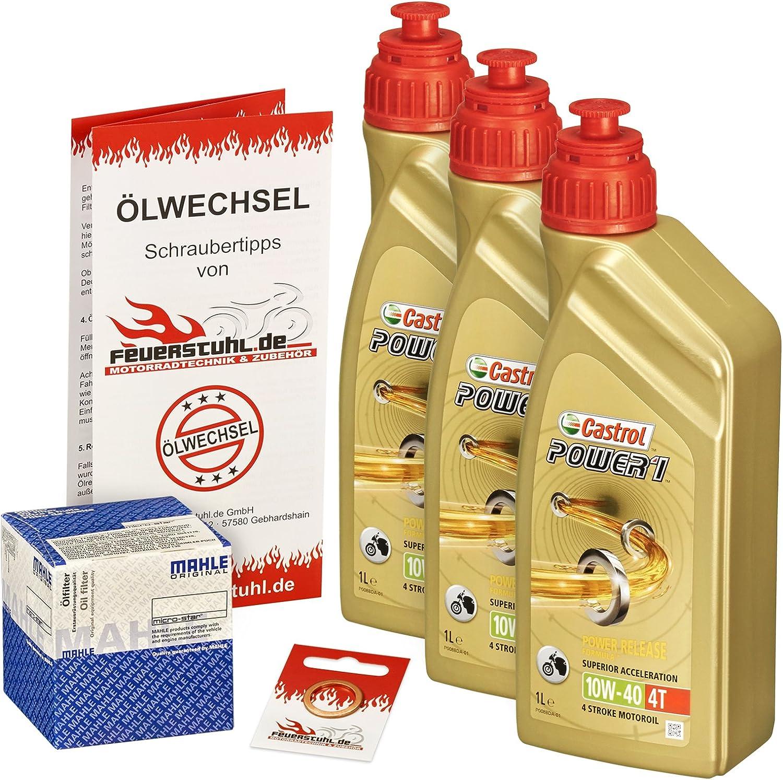 Castrol 10w 40 Öl Mahle Ölfilter Für Kawasaki Klr 650 Tengai 87 91 Kl650a Kl650b Ölwechselset Inkl Motoröl Filter Dichtring Auto
