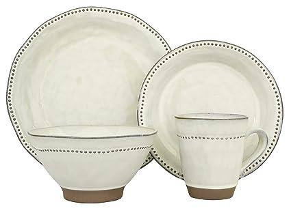 Amazon.com | Sango 16 Piece Cyprus Dinnerware Set, White: Dinnerware ...