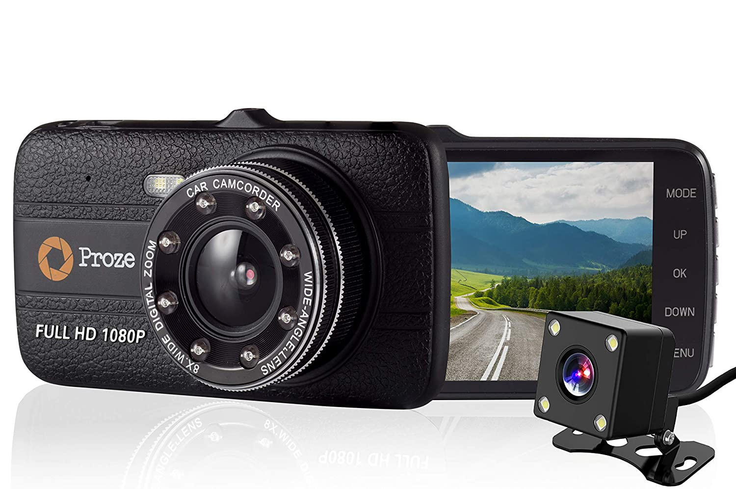 Proze Dash Cam 4.0 Car Camera 170° Wide Angle Dual Dashboard Cam with Front and Rear Camera 4' HD 1080P Full HD DVR G Sensor Enhanced Night Vision IR Loop Recording Motion Detection Parking Monitor P-DC-4.0