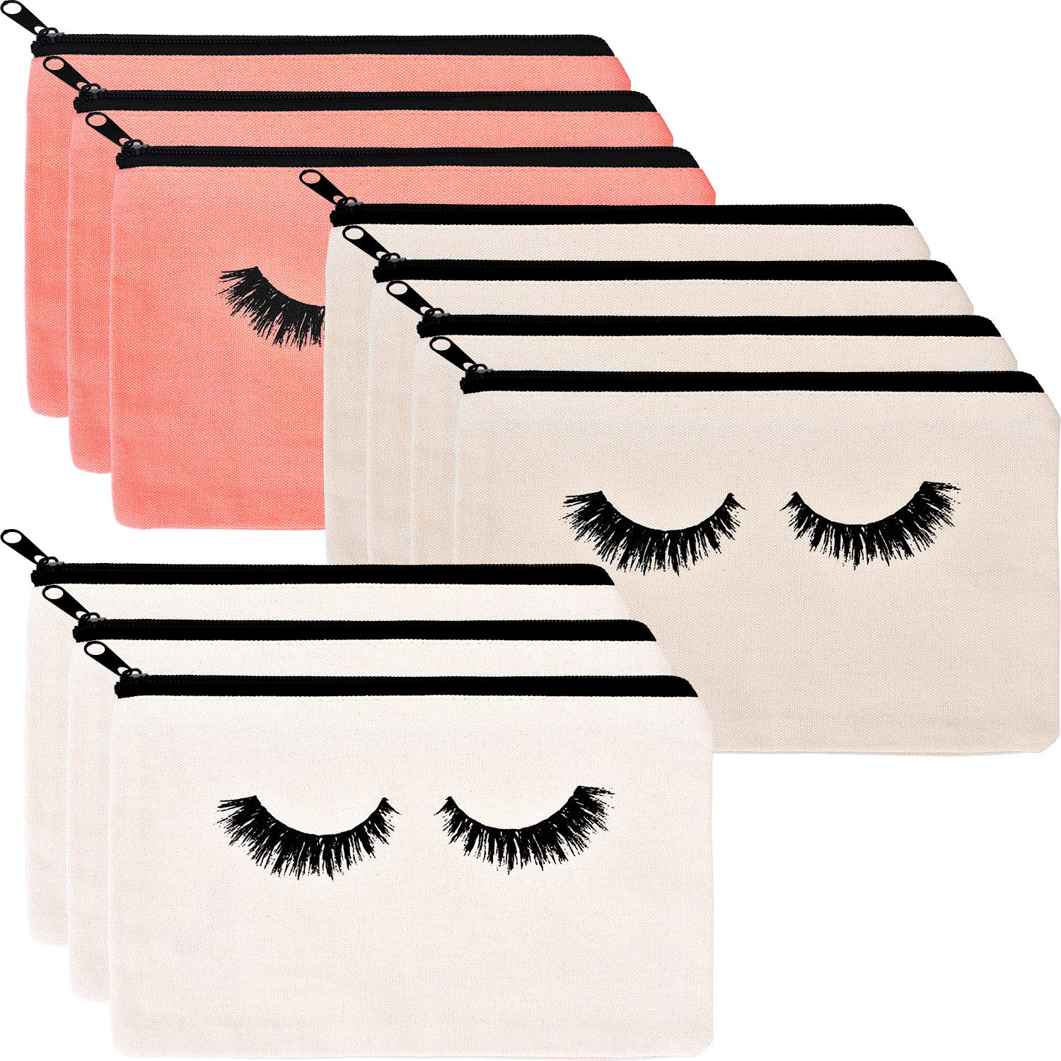 10 Pieces Eyelash Makeup Bags Cosmetic Bags Travel Make up Pouches with Zipper for Women Girls (White, Beige and Pink)