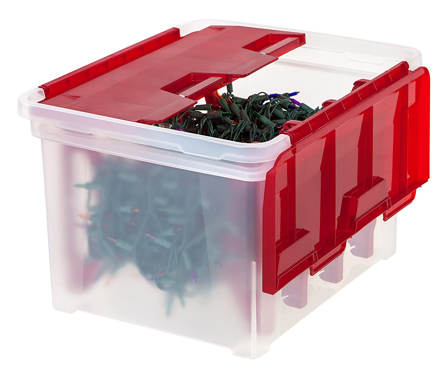 Amazon.com: IRIS Wing Lid Storage Box With 4 Light Wraps, Red: Home U0026  Kitchen