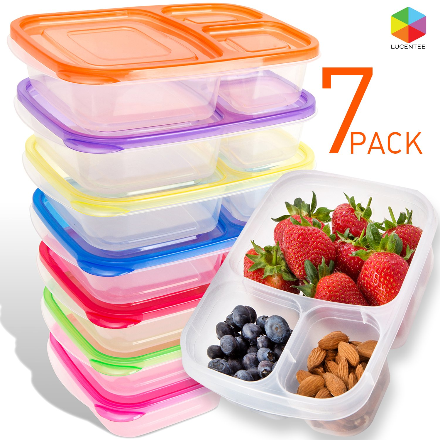Bento Lunch Box | Meal Prep Containers | 7 Pack | Reusable 3-Compartment Plastic Divided Food Storage Container Boxes for Kids & Adults | Microwave, Dishwasher and Freezer Safe by Lucentee