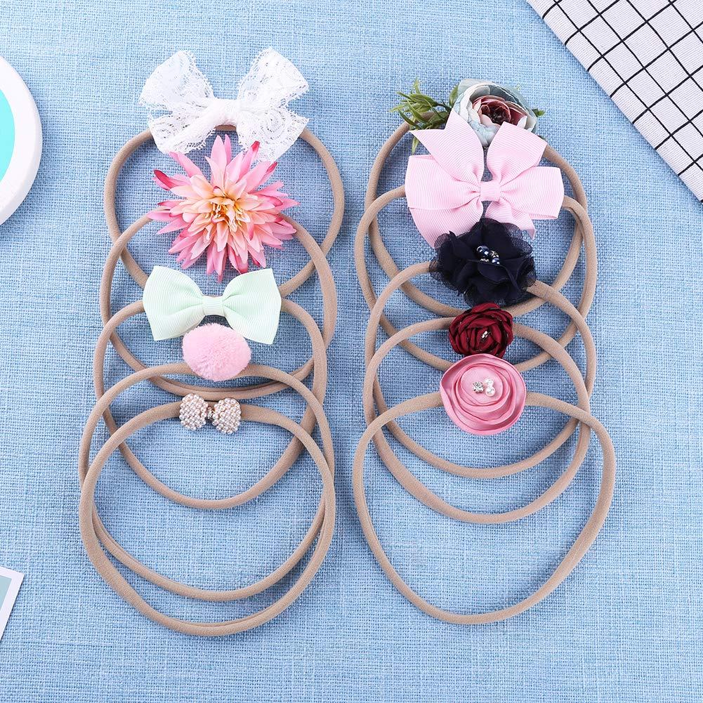 Neonate fasce 10pcs pizzo elastico fasce per capelli arco fotografia prop accessori per capelli per neonato