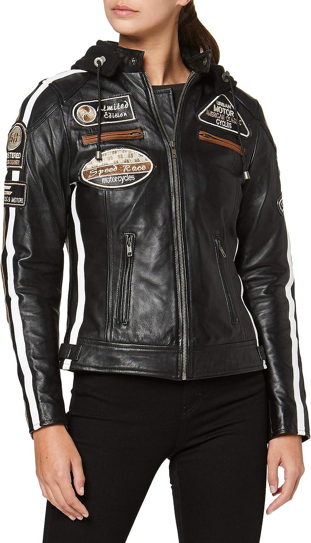 Urban GoCo Chaqueta Moto Mujer de Cuero Urban Leather '58 LADIES', Chaqueta Cuero Mujer, Cazadora Moto de Piel de Cordero, Armadura Removible para Espalda, Hombros y Codos Aprobada por la CE |Negro, M