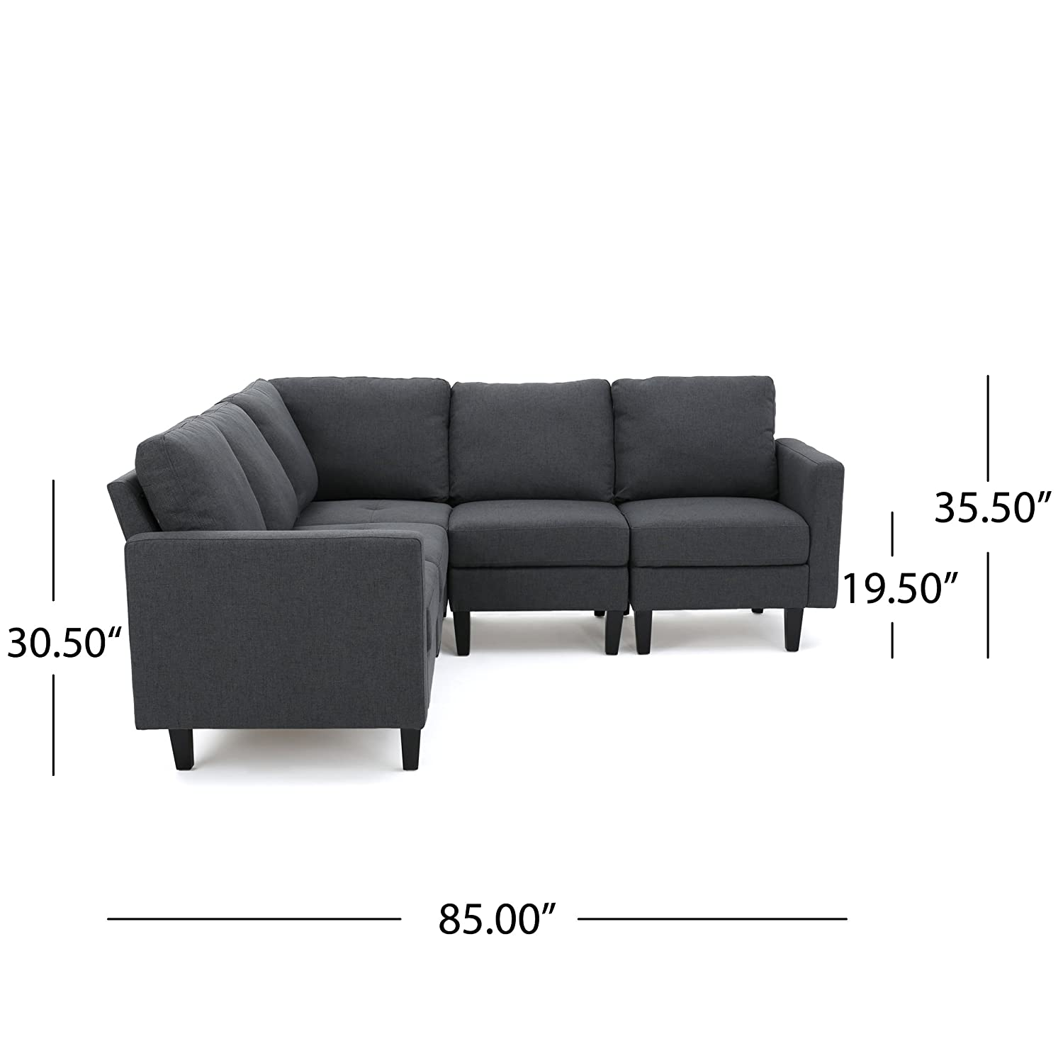 Amazon Carolina Dark Grey Fabric Sectional Couch Kitchen