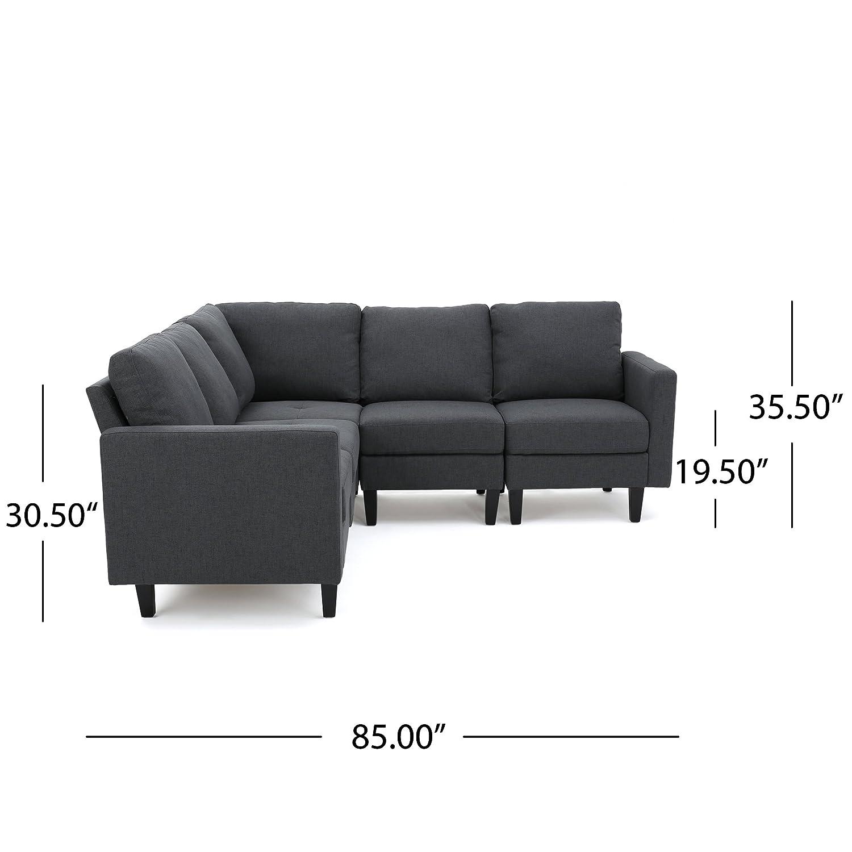 Amazon Carolina Dark Grey Fabric Sectional Couch Kitchen