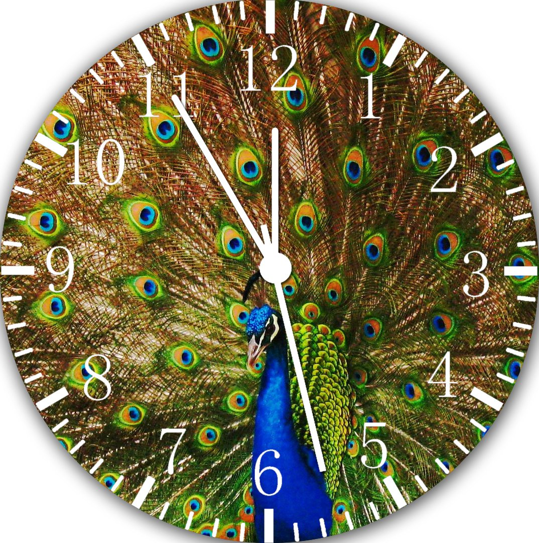 Beautiful Peacock Peafowl Frameless Borderless Wall Clock E114 Nice for Gift or Room Wall Decor