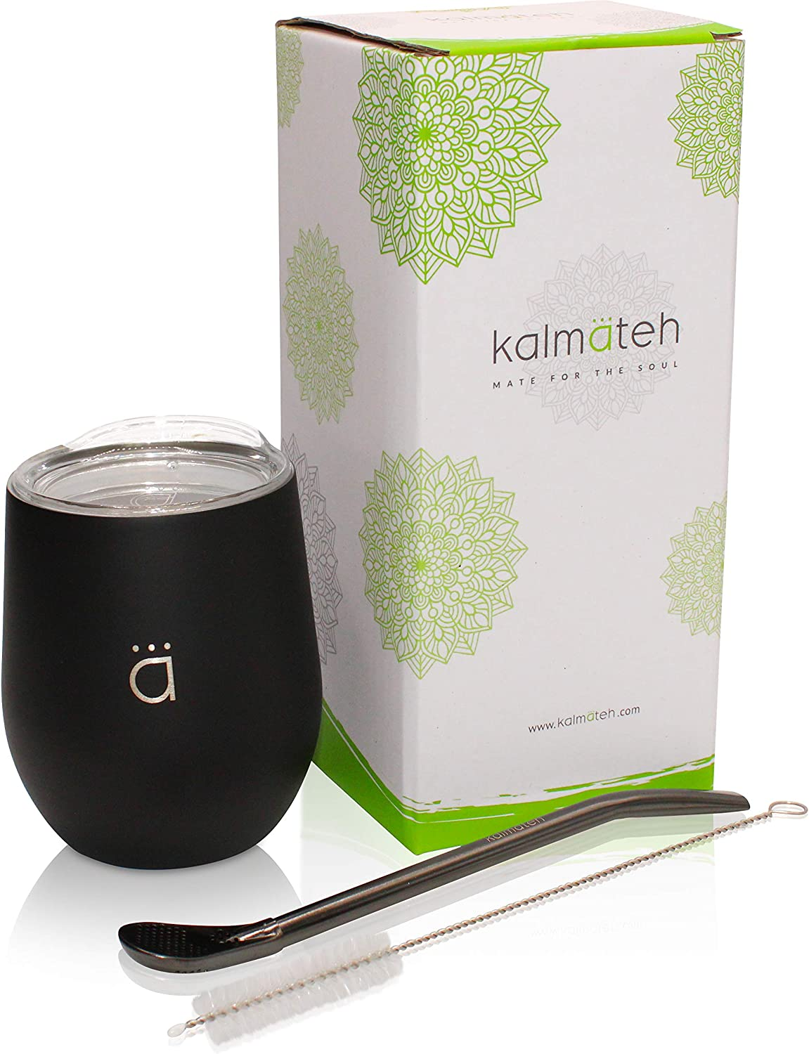 Kalmateh Yerba Mate Gourd - Modern 8 oz Mate Cup with BPA Free Lid- Double Walled 18/8 Stainless Steel - Includes Bombilla and Cleaning Brush
