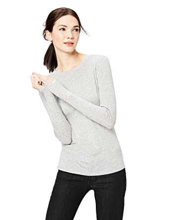 16bbb2b88dc7a Daily Ritual Women's Rib Knit Jersey Long-Sleeve Crew Neck Shirt, Light  Heather Grey
