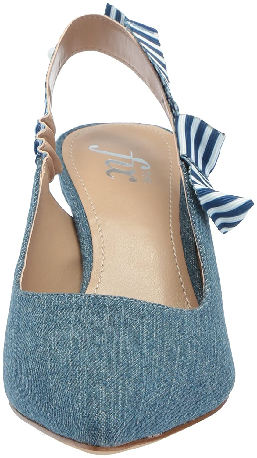 The Fix Women's Fatina Kitten Heel Slingback Pump B076ZYH165 7 B(M) US|Denim Textile