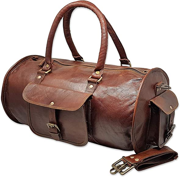 """20/"""" Men/'s Brown Vintage Genuine Travel Luggage Duffle Gym Bags Tote Goat Leather"""