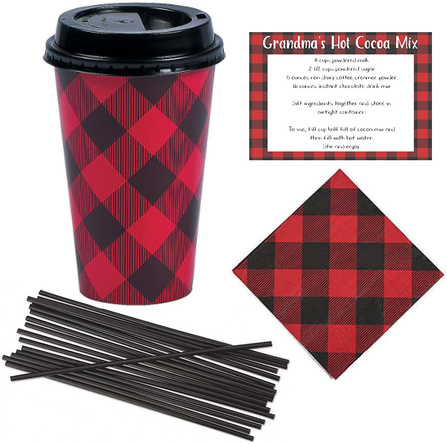 Farmhouse Decor Disposable Coffee or Hot Chocolate Cups (16 oz) with Lids, Napkins, Stir Straws and Recipe - Red & Black Buffalo Plaid - Cocoa Bar Kit Lumberjack Party Supplies Christmas(24 Count Set)